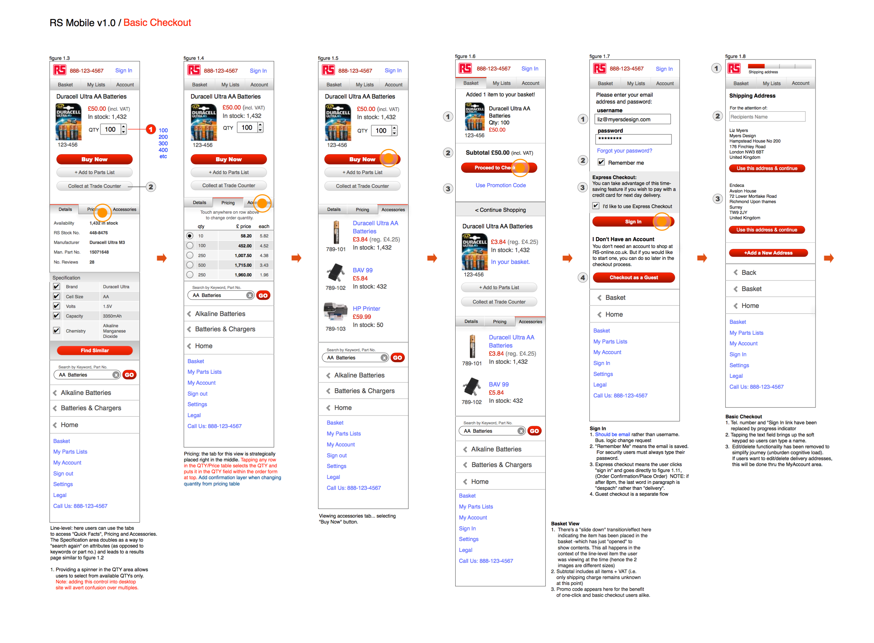 RS Components Mobile Wireframes
